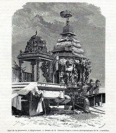 Antique print Puri Orissa India temple juggernaut / Jagannath 1869 procession