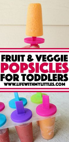 These two delicious recipes for fruit and veggie popsicles for toddlers are delicious! They have no added sugar, only three ingredients, and are guaranteed to help your kids eat more veggies!