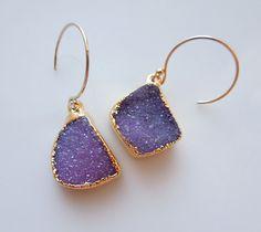 Druzy Earrings in Deep Violet by 443Jewelry on Etsy, $105.00