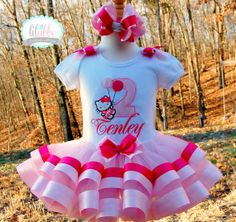 Hello Kitty Ribbon Trim Birthday Tutu Set ~ Includes Top/Onesie,Tutu, Hair Accessory