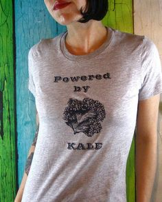 Womens Kale T-Shirt  - Screen Printed Ladies Vegan Clothing - Veggie - Powered by Kale Gray and Black Shirt