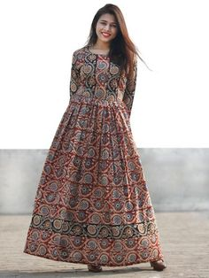 Red Black Beige Indigo Hand Block Printed Long Cotton Dress With Gathers - Cotton Long Dress, Long Gown Dress, Saree Dress, Salwar Designs, Blouse Designs, Cotton Dresses Online, Buy Dresses Online, Cotton Frocks, Cotton Nighties