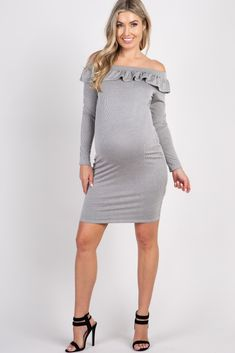 d4ce88c94d8 Taupe Pinstriped Off Shoulder Ruffle Accent Dress Off Shoulder Maternity  Dress
