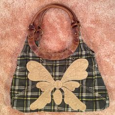 "Corduroy & Leather Butterfly Handbag! NWOT 14"" across by 9 1/2"" tall. You could carry this on your shoulder. It fits nice under your arm. It is in perfect condition and is priced to sell and ship today from my non smoking home if purchased by noon Monday - Friday. 10 am on Saturday Bags"