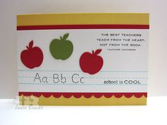 Teacher Appreciation - ABC - School is Cool - Hand Stamped Greeting Card