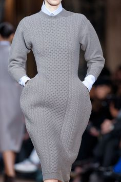 Sculptural Fashion - grey knitted dress with elegant exaggerated silhouette - shape and structure; 3D fashion // Stella McCartney