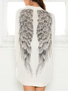 a78db4e2e85e2 Additional tips Ayliss Angel Wings Print Back Batwing Oversized Kimono  Cardigan Cover Up Blouse for Christmas Gifts Idea Online Shopping