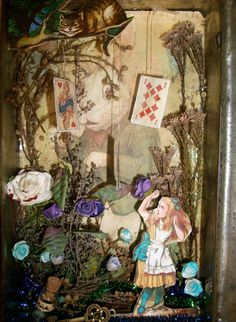 Alice in Wonderland Shadow Box in Vintage tin Shadow Box Art, Altered Tins, Fantasy Miniatures, Miniature Crafts, Art Inspo, Alice In Wonderland, Projects To Try, Drawings, Creative