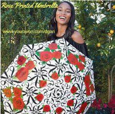 https://www.avon.com/product/rose-printed-umbrella-57943?rep=dgari A black and white signature print umbrella with gorgeous red roses! #umbrella #red #roses #fashion