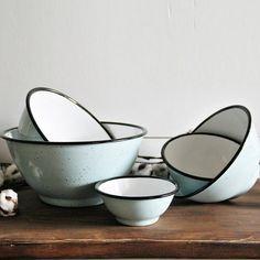 Songbird Enamel Bowls, Set of 5 Kitchen Supplies, Kitchen Tools, Kitchen Ideas, Enamel Dishes, Antique Farmhouse, Farmhouse Style, Kitchenware, Tableware, Rustic Blue