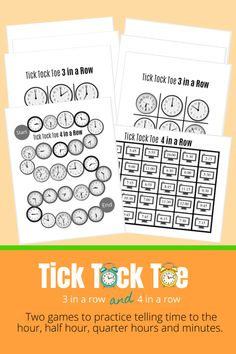Here are 4 different game boards (time to the hour, half hour, quarter hours and mixed times) for 3 in a row, plus 2 game boards for the '4 in a Row' game. The 4 in a Row game puts together all of the time concepts learned and has kids translate time back and forth between analog clocks and digital clocks. Both math games about telling time are short, no-prep and fun for kids! #mathisfun #mathgames #homeschoolmath #homeed #homeschool Math School, Homeschool High School, Homeschool Math, Homeschooling, Fun Math, Math Activities, Time To The Hour, Game Boards, Teaching Phonics