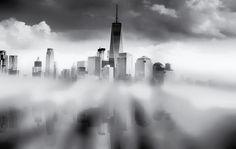 Nieuw in mijn Werk aan de Muur shop: Reflectie van Manhattan New York City