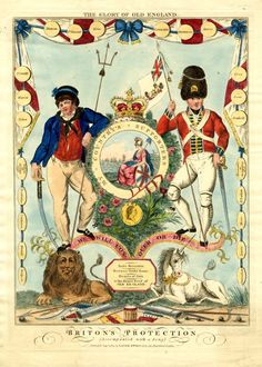 The Glory of Old England / Briton's Protection Music cover (?) with a mock coat of arms showing Britannia in a roundel seated on the shore with ships at sea and an army camp behind her, a portrait of...