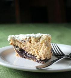 black bottom peanut butter pie: rich & creamy peanut butter mousse atop a layer of chocolate ganache