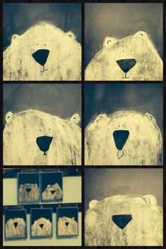 Kindergarten polar bears- Used white chalk on black paper and cut noses out of black paper, used black marker to make eyes and mouth