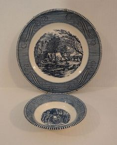 Blue Transferware Large Dinner Plate and Bowl Set Americana Home & Children