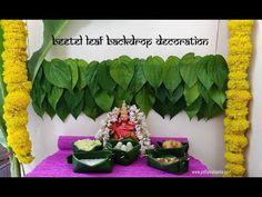 Betel Leaf backdrop decoration for Durga Pooja Mandir Decoration, Ganpati Decoration At Home, Diwali Decorations At Home, Ganapati Decoration, Backdrop Decorations, Festival Decorations, Flower Decorations, Backdrops, Flower Rangoli