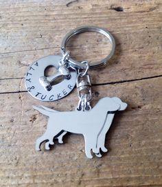 Yellow Labrador Retriever Image Metal Chunky Keyring in Gift Box
