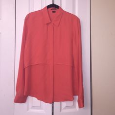 NWT THEORY silk blouse Coral in color. Size M 100% silk Theory Tops Blouses