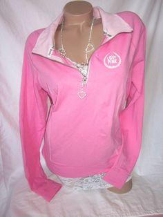 Nwt Victorias Secret Pullover Yoga Top Sweatshirt Shirt Half Zip PiNK L #VictoriasSecret #SweatshirtCrew