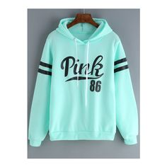 SheIn(sheinside) Green Drawstring Hooded Letters Print Sweatshirt ($18) ❤ liked on Polyvore featuring tops, hoodies, sweatshirts, sweatshirt, green, blue pullover hoodie, green top, pullover hoodies, long sleeve hoodie and green pullover hoodie