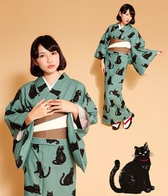 Another great cat kimono here, paired with a soft neutral brown and taupe obi that keeps the whole outfit looking flat and clean. I would have used something like pink in the obi to freshen up the. Yukata Kimono, Kimono Outfit, Kimono Fashion, Kimono Style, Green Kimono, Summer Kimono, Japanese Outfits, Japanese Fashion, Traditional Fashion