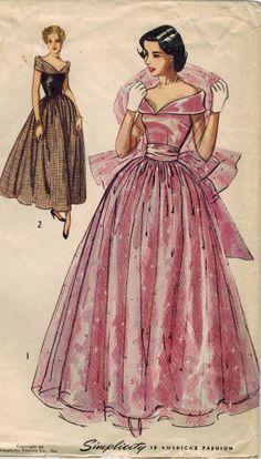 1940s Simplicity 2964 Vintage Sewing Pattern Junior Misses Floor Length Formal Dress Size 15 Bust 33
