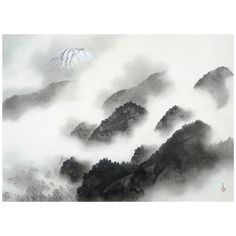 A scroll from Taikan's Ten Scenes of Mt. Fuji and Ten Scenes of the Sea series painted in 1940, and said to be one of his best five India ink paintings. The mountain range depicted as a rain shower clears creates a flowing sensation; behind this, soaring in majesty, is Mt. Fuji.