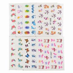 Cartoon Stickers, Nail Stickers, Mix Style, Floral Tie, Feather, Nail Art, Quilts, Sd, Beauty