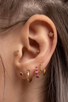 Products - Rue Gembon Pretty Ear Piercings, Types Of Ear Piercings, 3 Lobe Piercings, Ear Jewelry, Cute Jewelry, Accesorios Casual, Cute Earrings, Earring Set, Fashion Jewelry
