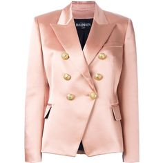 Balmain double breasted blazer ($2,494) ❤ liked on Polyvore featuring outerwear, jackets, blazers, balmain jacket, pink blazer, blazer jacket, pink straight jacket and long sleeve jacket