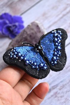 Items similar to Butterfly Brooch Beaded pin Butterfly jewelry blue Morpho pin sequins embroidery brooch womans gift jewelry Mother day brooch gift on Etsy Bead Embroidery Jewelry, Beaded Embroidery, Embroidery Designs, Bead Jewellery, Beaded Jewelry, Glass Jewelry, Jewelry Findings, Silver Jewelry, Beaded Bracelets