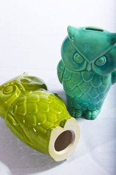 Vintage Ceramic Owl Coin Bank Sheer Turquoise by modclay on Etsy, $28.00