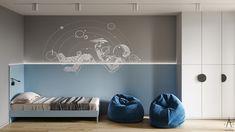 Z E T W I X Design Interior по проектам | Фотографии, видео, логотипы, иллюстрации и брендинг в Behance Kids Bedroom Designs, Kids Room Design, Home Decor Bedroom, Room Decor, Wall Decor Design, Teenage Room, Boy Room, Room Interior, Room Inspiration