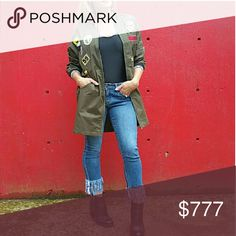 ⭐Sassy army green jacket BRAND new no tags Boutique item . Army green jacket featuring trendy patches with black and white trim. Pair with leggings/jeans and a tank top. I also wear mine as a mini dress with thigh high boots! Zip up front and pockets    Trendy popular greens patches iron on Vegas vacation party street style fashion military .. Jackets & Coats
