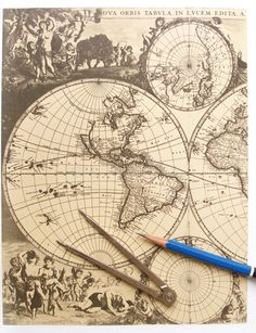Antique world map, compass. An image showing an ancient vintage world map with g , Antique World Map, Old World Maps, Old Maps, Antique Maps, Map Tattoos, Tattoo Drawings, Moby Dick, Mangas Tattoo, Map Compass