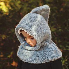 (6) Name: 'Knitting : Knitted Shark Hooded Cowl