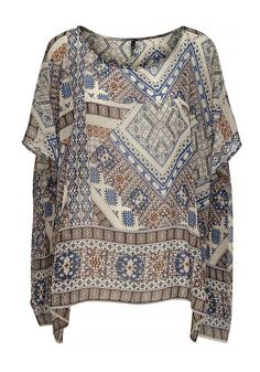Only Emilie Aztec Print Chiffon Poncho, Blue | McElhinneys Department Store