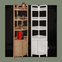 Wicker Corner Standing Shelf with 2 Doors via @wickerparadise #wicker #shelf #corner #bathroom www.wickerparadise.com