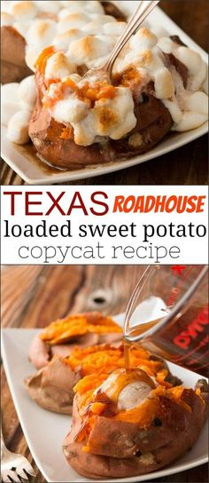 Texas Roadhouse loaded sweet potato copycat recipe Oh, Mama! Check out this Texas roadhouse loaded sweet potato copycat recipe!<br> Oh, Mama! Check out this Texas roadhouse loaded sweet potato copycat recipe! Sweet Potato Dessert, Sweet Potato Toppings, Loaded Sweet Potato, Sweet Potato Casserole, Sweet Potato Recipes, Good Sweet Potato Recipe, Best Baked Sweet Potato, Copycat Recipes Texas Roadhouse, Texas Roadhouse Sweet Potato Recipe