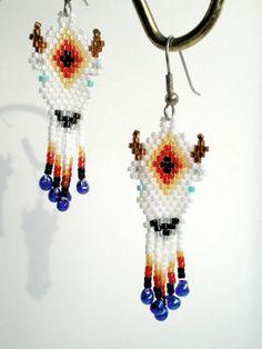 free native beaded earring patterns | White Buffalo Earrings, brickstitch, native american inspired
