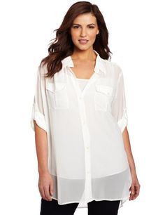 DKNYC Women's Plus-Size Long Sleeve Button Shirt « Clothing Impulse