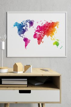 I'm in LOVE with this rainbow world map wall art! Watercolor world map print in all colors of the rainbow. Get the design today and bring some color into your modern home!