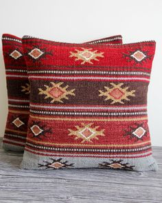 SALE - Kilim Pillow - Fair Trade Kilim Wool Cushion Pillow with Inner Pad