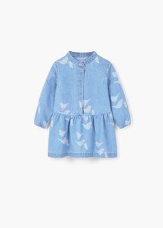 Bedrukte denim jurk -  Kinderen | MANGO Kids België
