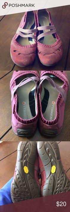 Merrell Mary Janes Woman's size 6 pinkish/purplish/maroonish Merrell Mary Janes. Light wear. Soles measure 10 inches. Merrell Shoes Flats & Loafers
