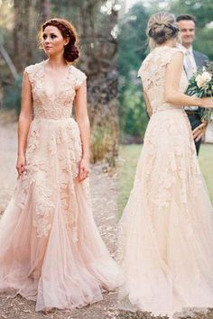 V-neck Sleeveless Floor-Length Lace Wedding Dress High Quality SW29