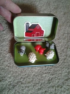 Make a magnet tin by repurposing an Altoids case. Create A Fun Barn Yard with Animals. Great for keeping busy on a road trip or flight.