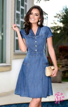 Swans Style is the top online fashion store for women. Shop sexy club dresses, jeans, shoes, bodysuits, skirts and more. Cute Dresses, Casual Dresses, Short Sleeve Dresses, Chambray Dress, Jeans Dress, Mode Outfits, Dress Outfits, Denim Fashion, Fashion Outfits