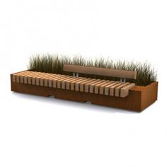 STREETLIFE Bench with optional backrest. backyard with fire pit Urban Furniture, Street Furniture, Garden Furniture, Banco Exterior, Exterior Design, Urban Landscape, Landscape Design, Outside Benches, Tree Planters